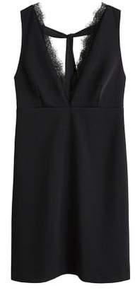 MANGO Lace panel dress