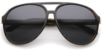 sunglass.la Retro Large Protective Polarized Lens Aviator Sunglasses 60mm (Tortoise / Smoke Polarized)