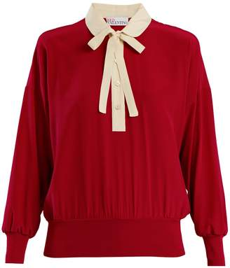 RED Valentino Peter Pan-collar tie-neck silk blouse