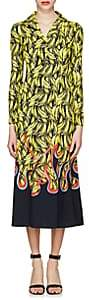 Prada Women's Banana- & Flame-Print Satin Shirtdress-Yellow