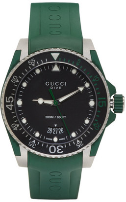 Gucci Green & Silver Dive Watch $1,090 thestylecure.com