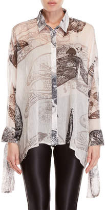 Religion Printed Tie-Sleeve Shirt