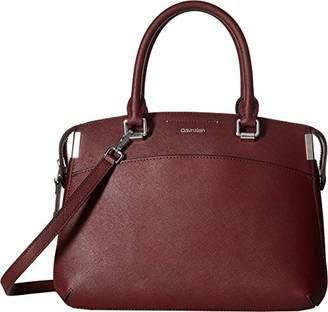 Calvin Klein Raelynn Saffiano Leather Top Zip Satchel