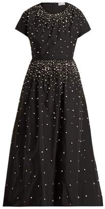 RED Valentino Pearl Embellished Taffeta Dress - Womens - Black