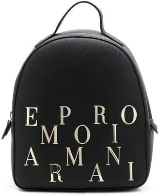 Emporio Armani logo embellished backpack