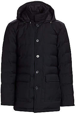 Saks Fifth Avenue Quilted Wool Puffer Coat & Removable Vest