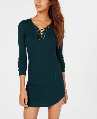 Planet Gold Juniors' Lace-Up Bodycon Sweater Dress