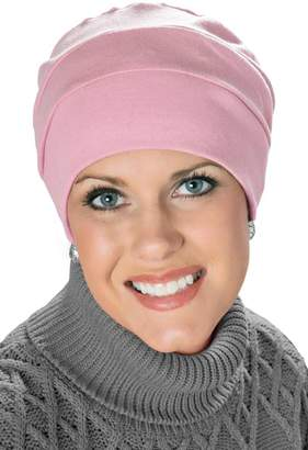 Headcovers Unlimited 100% Cotton Cancer Turban: Three Seam Cancer Hat for Chemo Patients Pink Blush