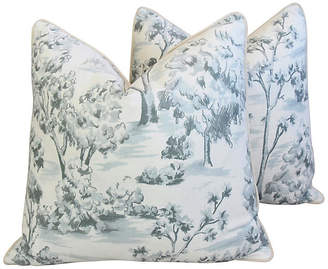 One Kings Lane Vintage Blue-Gray Linen Toile Pillows - Set of 2