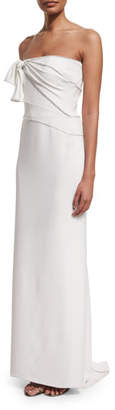 Versace Knotted Strapless Silk Column Gown, White