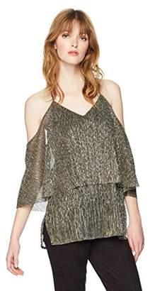 Halston Women's Cold Shoulder Flounce Metallic Top