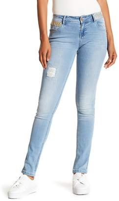 Desigual Embroidered Light Wash Skinny Jeans