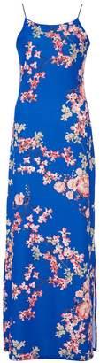 Quiz Royal Blue Floral Split Maxi Dress