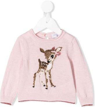 MonnaLisa deer print knitted top