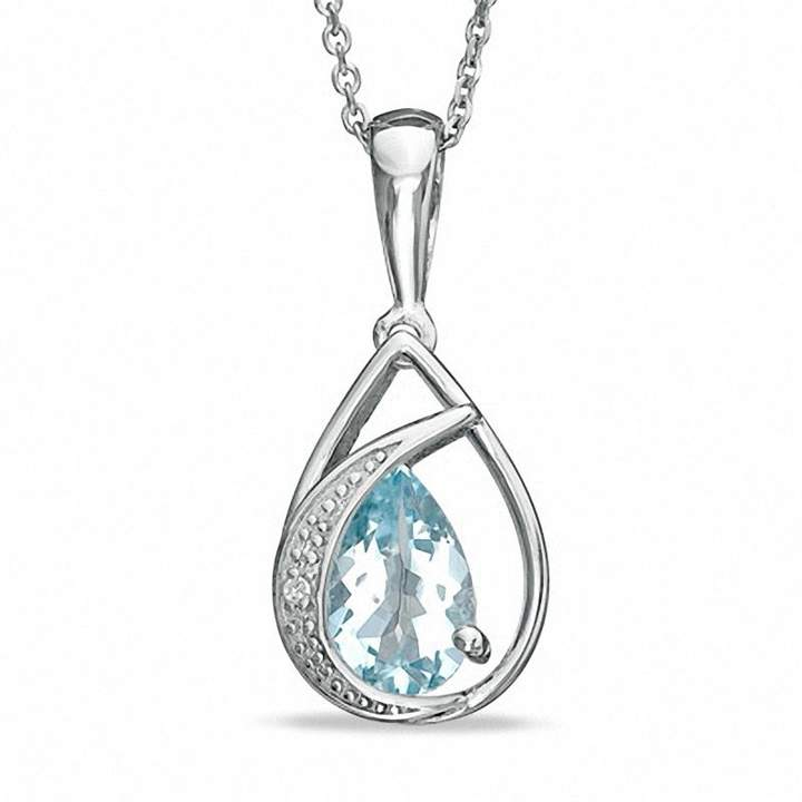 Zales Pear-Shaped Aquamarine and Diamond Accent Teardrop Pendant in Sterling Silver