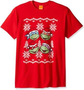 Nickelodeon Men's Tmnt Christmas Tree Ugly Christmas T-Shirt