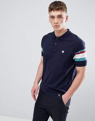 Pretty Green polo shirt with striped sleeves in navy