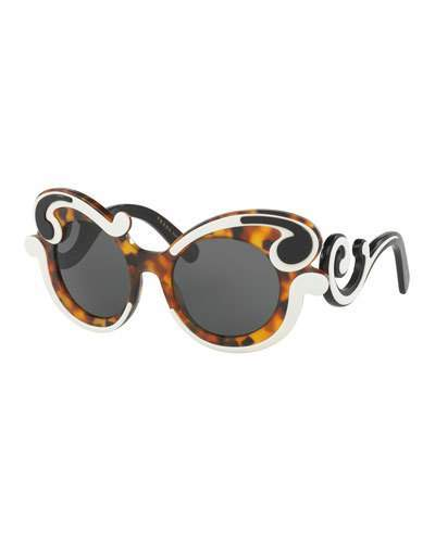 prada Prada Gradient Two-Tone Round Scroll Sunglasses, Tortoise/Ivory