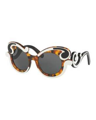 Prada Gradient Two-Tone Round Scroll Sunglasses, Tortoise/Ivory $450 thestylecure.com