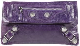 88a8cbcfde116 Balenciaga City Purple Leather Clutch Bag