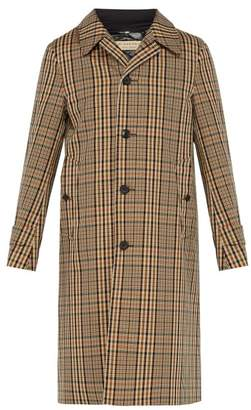 Burberry Lenthorne Checked Twill Overcoat - Mens - Camel