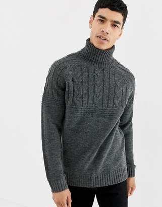 57e7d376bc8c7c Pier 1 Imports cable knit jumper in dark grey with roll neck