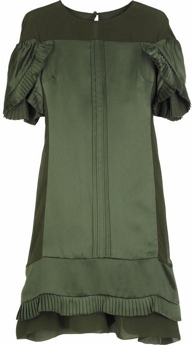 Development Satin petal-sleeve dress