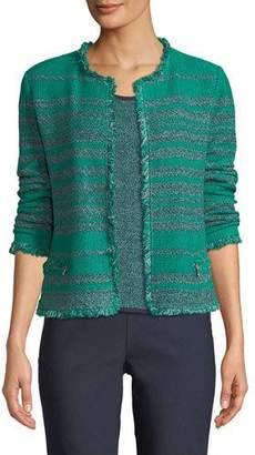 Nic+Zoe Must Have Open-Front Tweed Jacket w/ Fringe Trim