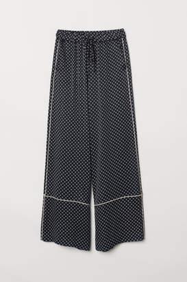H&M Wide-leg Viscose Pants - Blue