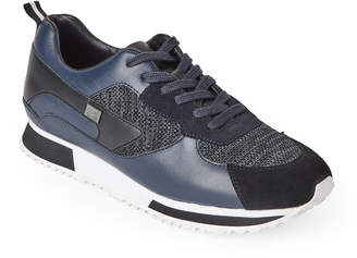 Class Roberto Cavalli Navy & Black Leather & Knit Jogger Sneakers