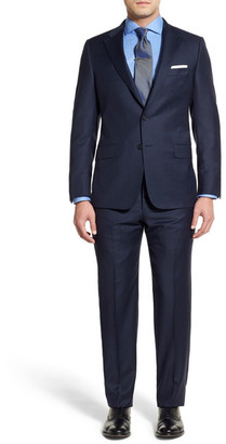 Hickey Freeman Blue Micro-Check Two Button Notch Lapel Wool Classic Fit Suit $1,595 thestylecure.com