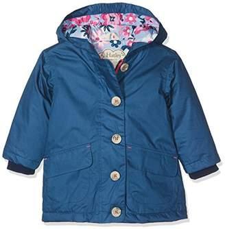 Hatley Girl's Cotton Coated Raincoats Rain Jacket, (Navy Wintery Blooms)
