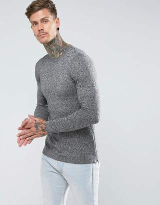 Asos Muscle Fit Longline Sweater With Side Zips In Gray Twist