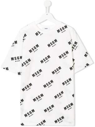 MSGM TEEN all-over logo print T-shirt