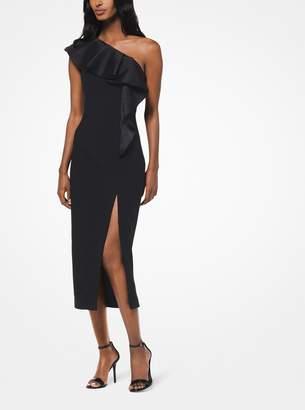 Michael Kors Ruffled Stretch Pebble-Crepe Dress