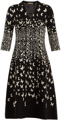 Bottega Veneta Butterfly-jacquard V-neck dress