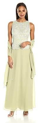 J Kara Women's Sleeveless Scallop Long Beaded Dress with Scarf