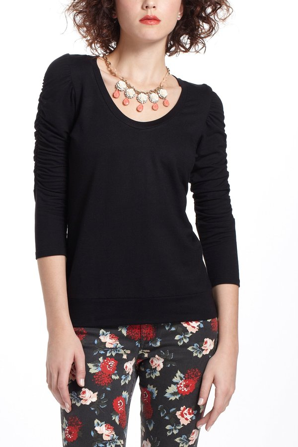 Anthropologie Ruched French Terry Sweatshirt