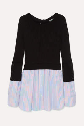 Kenzo (ケンゾー) - KENZO - Layered Ribbed Cotton-blend Knit And Cotton-poplin Sweater - Black