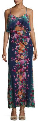 Fuzzi Floral-Print Tulle Ruffle Slip Dress, Blue $498 thestylecure.com