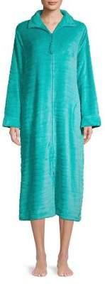Miss Elaine Zip-Up Textured Robe