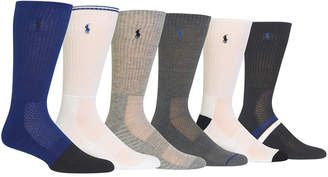 Polo Ralph Lauren Men's Big & Tall 6-Pk. Athletic Textured Crew Socks