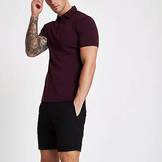 River Island Dark red essential muscle fit polo shirt
