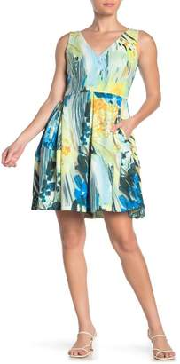 Taylor Pleated Floral Print Scuba Dress