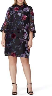 Tahari Floral Burnout Bell Sleeve Shift Dress