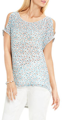 Two By Vince Camuto Floral Sketches Mix Media Cold Shoulder Tee $59 thestylecure.com