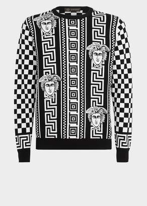 Versace Greek Key Damier Wool Sweater