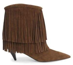 Saint Laurent Charlotte Suede Fringe Booties