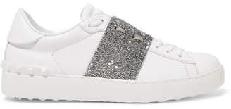Valentino Garavani Crystal-embellished Leather Sneakers
