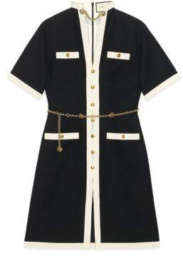 Gucci Short wool silk dress with chain belt